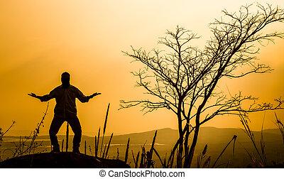日没, 祈ること, シルエット, 背景, 人