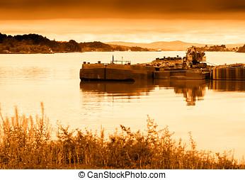 日没, 船, 交通機関, 背景