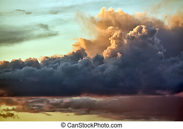 日没, 色, 雲, 印象的, 超大作