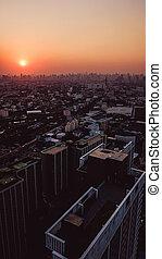 日没, 角度, 光景, 高く, 航空写真, 風景, 都市, 写真