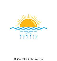 日没, 象徴的, 海, 波