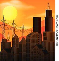 日没, 都市現場, 大きい