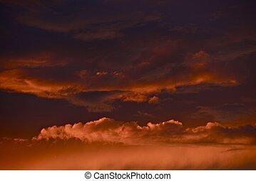 日没, 雲, 嵐である