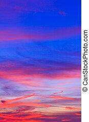 日没, 青い空, そして, 雲, 背景