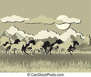日没, 馬, シルエット, バックグラウンド。