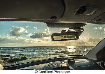 日没, 駐車される, 海, サルジニア, 自動車