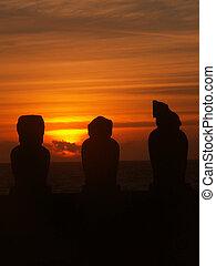 日没, 3, シルエット, moai