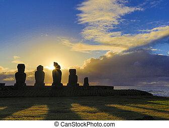 日没, ahu, moai, イースター島, akivi