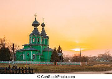 日没, dobrush, krupets, 正統, 地区, belarus, 教会, 神聖な三つ組, 木製である, 村, 古い, 地域, gomel, ライト