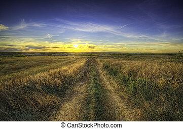日没, hdr, 田舎の道路, 上に