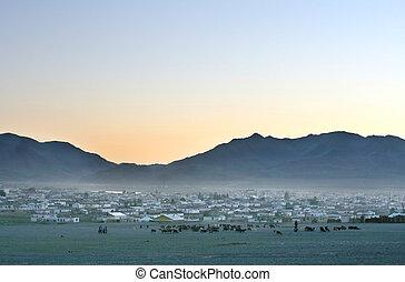 日没, mongolian, 村