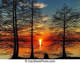 日没, monticello, 南, 貯水池, カロライナ