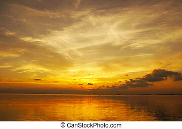 日没, thailand., 空, songkla, 湖