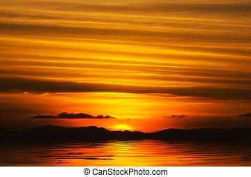 日落天空, 湖