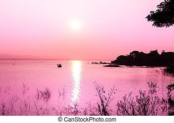 日落, 在上, 山, 同时,, 湖