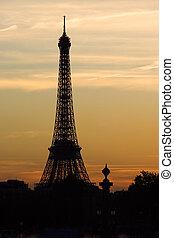 日落, 在上, eiffel塔