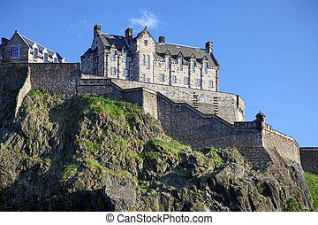 日落, 在, 爱丁堡城堡, 苏格兰, 英国