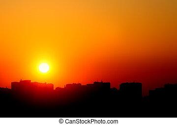 日落, 城市