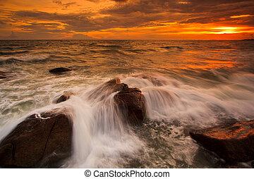 日落, 岩石, 自然, 风景, 海