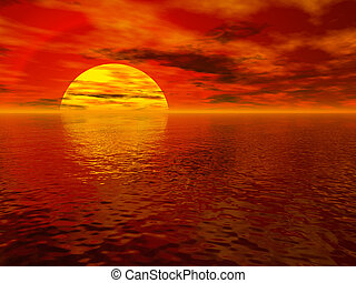 日落, 海