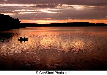 日落, 湖