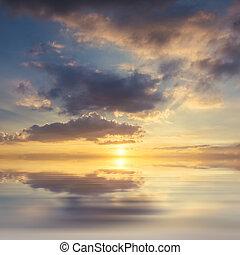 日落, 背景, 在上面, 海