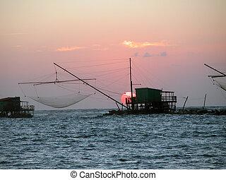 日落, di, italy, 比萨, 2005, 小游艇船坞