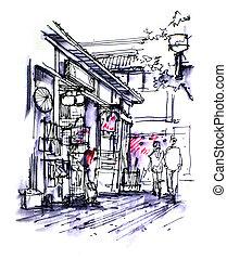 日語, 商店前面, 圖畫