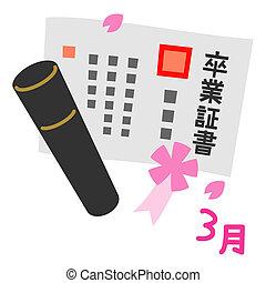日語, 證明, ......的, 完成, 畢業証書, 3月, 在, 日語