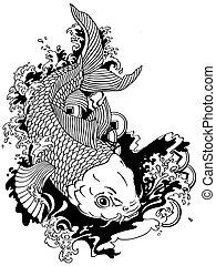 日語, 鯉魚, koi, 黑色, 白色