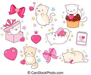 日, かわいい, kawaii, ステッカー, ネコ, セット, スタイル, バレンタイン
