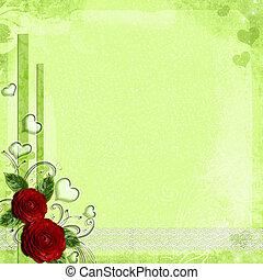 日, カード, ばら, 心, 挨拶, 緑, バレンタイン