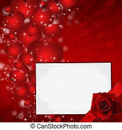 日, カード, 心, バレンタイン, 赤は 上がった