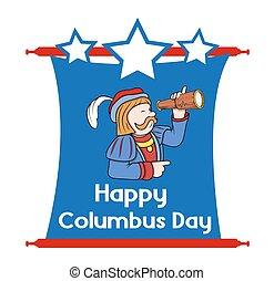 日, コロンブス, 幸せ, グラフィック, 漫画
