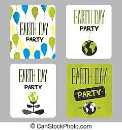 日, セット, 地球, カード