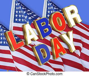 日, 労働, 旗, アメリカ人