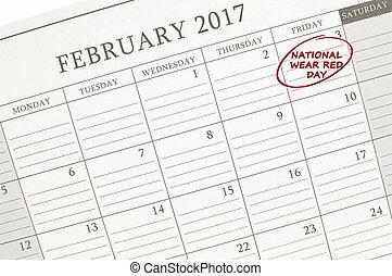 日, 国民, カレンダー, 赤, ウエア