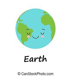 日, 地球, kawaii, 地球, 創造的, 微笑, 人間性, 概念, style., かわいい, 漫画, 惑星, 顔, 甘い