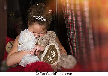 日, 女の子, 服, 抱き合う, 背景, プラシ天, 2, 赤, バレンタイン, 熊, 祝福