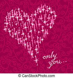 日, 心, カード, ロマンチック, バレンタイン, ベクトル