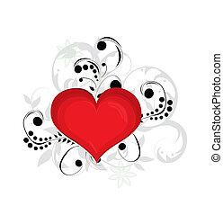日, 心, バレンタイン, ベクトル, バックグラウンド。, 赤, illustration.