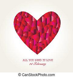 日, 心, モザイク, 幾何学的, バレンタイン