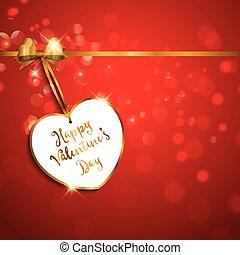 日, 心, ラベル, 背景, バレンタイン