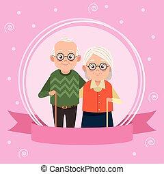 日, 恋人, 幸せ, 古い, カード, 祖父母