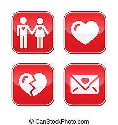日, 愛, ボタン, セット, バレンタイン
