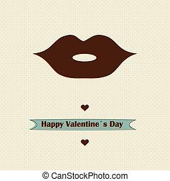 日, 愛, レトロ, デザイン, バレンタイン, 概念