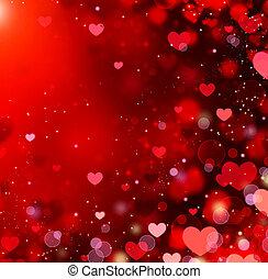 日, 抽象的, st.valentine's, バレンタイン, 心, バックグラウンド。, 赤