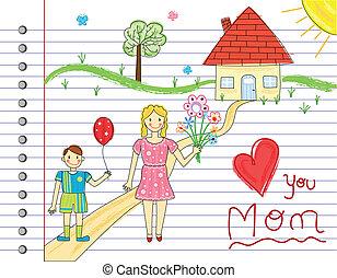 日, 母, カード