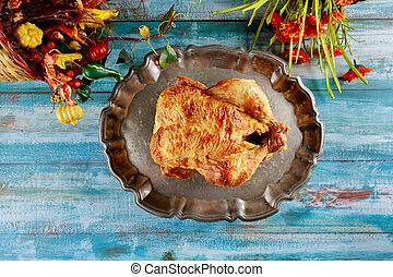 日, 焼かれた, 感謝祭トルコ, 手製, プレート