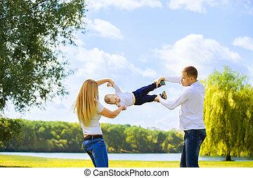 日, 父, 幸せ, 歩きなさい, 日当たりが良い, 息子, 母